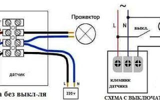 Как подключить датчик движения к светодиодному прожектору — возможные схемы коммутации для освещения