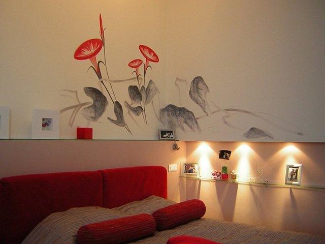 Рисунки на стене в квартире своими руками - несколько техник исполнения