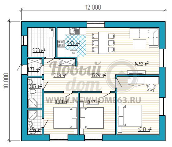Проект одноэтажного дома 10х12 с отличной планировкой - лучшие идеи