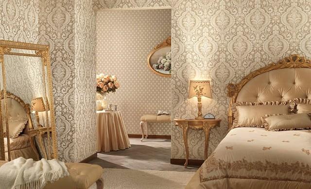 Интерьер спальни с обоями двух видов - попробуйте поэкспериментировать
