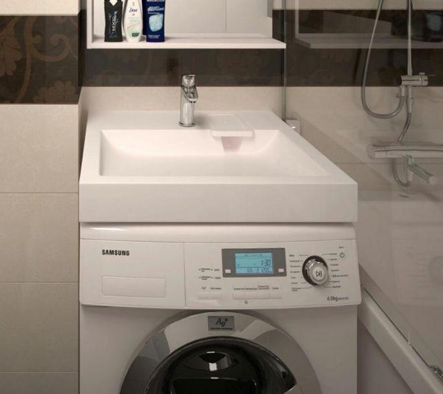 Установка раковины над стиральной машиной - решение проблемы тесной ванной