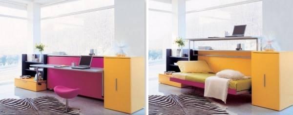 Кровать трансформер для малогабаритной квартиры - фото дизайны кроватей с рекомендациями